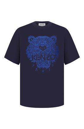 Мужская хлопковая футболка KENZO темно-синего цвета, арт. FB55TS0694YF | Фото 1