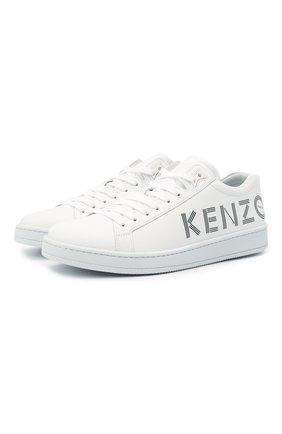 Мужские кожаные кеды KENZO белого цвета, арт. FB55SN129L71 | Фото 1