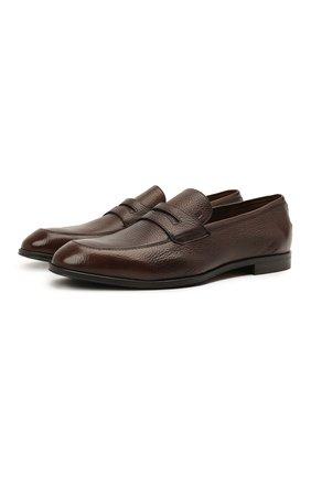 Мужские кожаные пенни-лоферы webb BALLY темно-коричневого цвета, арт. WEBB-U/502 | Фото 1 (Материал внутренний: Натуральная кожа; Стили: Классический; Мужское Кросс-КТ: Лоферы-обувь)