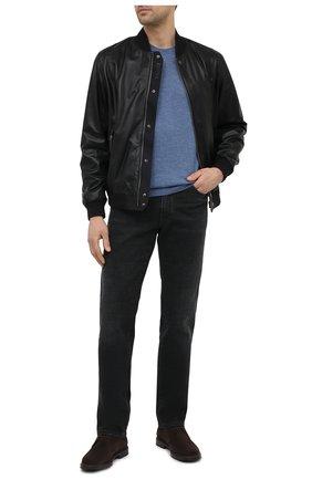 Мужской кожаный бомбер Z ZEGNA черного цвета, арт. VW077/ZZ918   Фото 2 (Стили: Кэжуэл; Кросс-КТ: Куртка; Рукава: Длинные; Мужское Кросс-КТ: Кожа и замша; Длина (верхняя одежда): Короткие; Принт: Без принта; Материал подклада: Синтетический материал)
