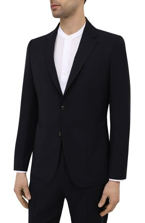 Мужской шерстяной костюм Z ZEGNA темно-синего цвета, арт. 922880/2X7YGW   Фото 2 (Рукава: Длинные; Костюмы М: Однобортный; Стили: Кэжуэл; Материал внешний: Шерсть)