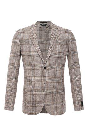Мужской пиджак изо льна и шелка Z ZEGNA бежевого цвета, арт. 950708/1D7SG0 | Фото 1