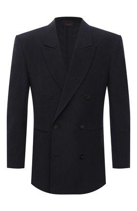 Мужской льняной пиджак ZEGNA COUTURE темно-синего цвета, арт. 987095/1197N0 | Фото 1