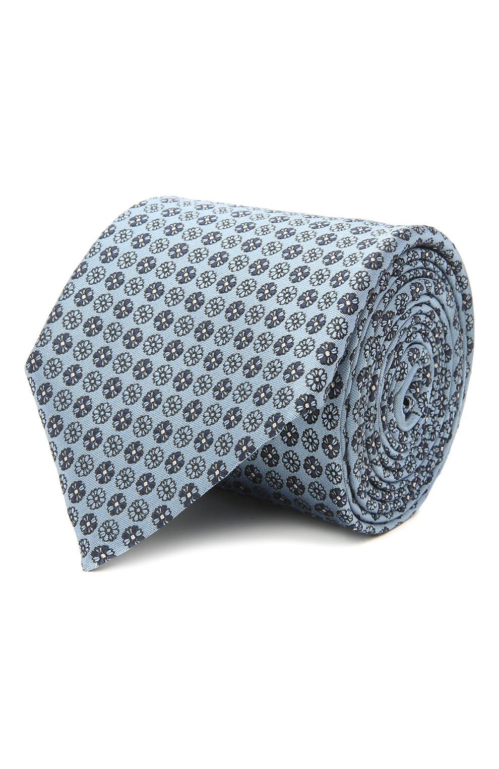 Мужской шелковый галстук ERMENEGILDO ZEGNA голубого цвета, арт. Z9D41/100   Фото 1 (Принт: С принтом; Материал: Текстиль, Шелк)