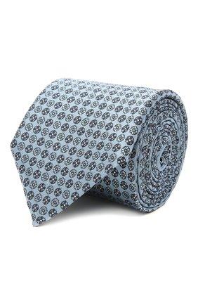 Мужской шелковый галстук ERMENEGILDO ZEGNA голубого цвета, арт. Z9D41/100 | Фото 1 (Принт: С принтом; Материал: Текстиль, Шелк)