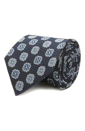 Мужской шелковый галстук ZEGNA COUTURE темно-синего цвета, арт. Z9C01/15C   Фото 1 (Материал: Текстиль, Шелк; Принт: С принтом)
