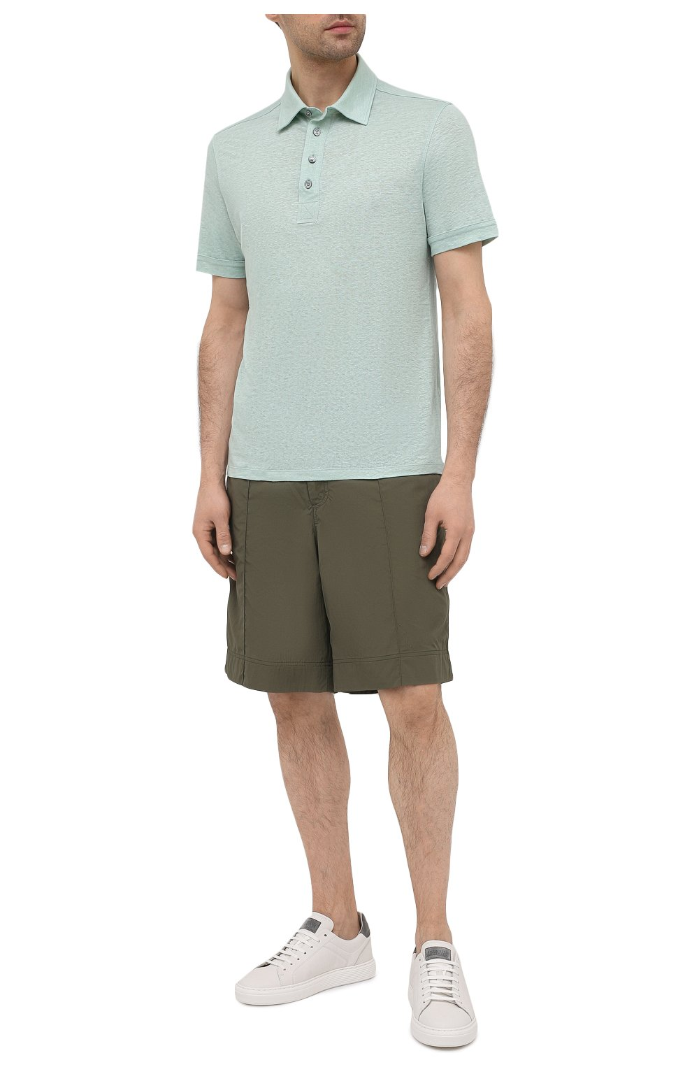 Мужское льняное поло ERMENEGILDO ZEGNA салатового цвета, арт. UU564/723 | Фото 2