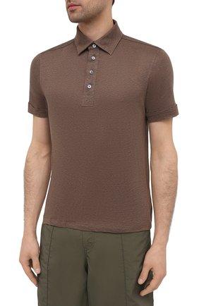 Мужское льняное поло ERMENEGILDO ZEGNA коричневого цвета, арт. UU564/723 | Фото 3