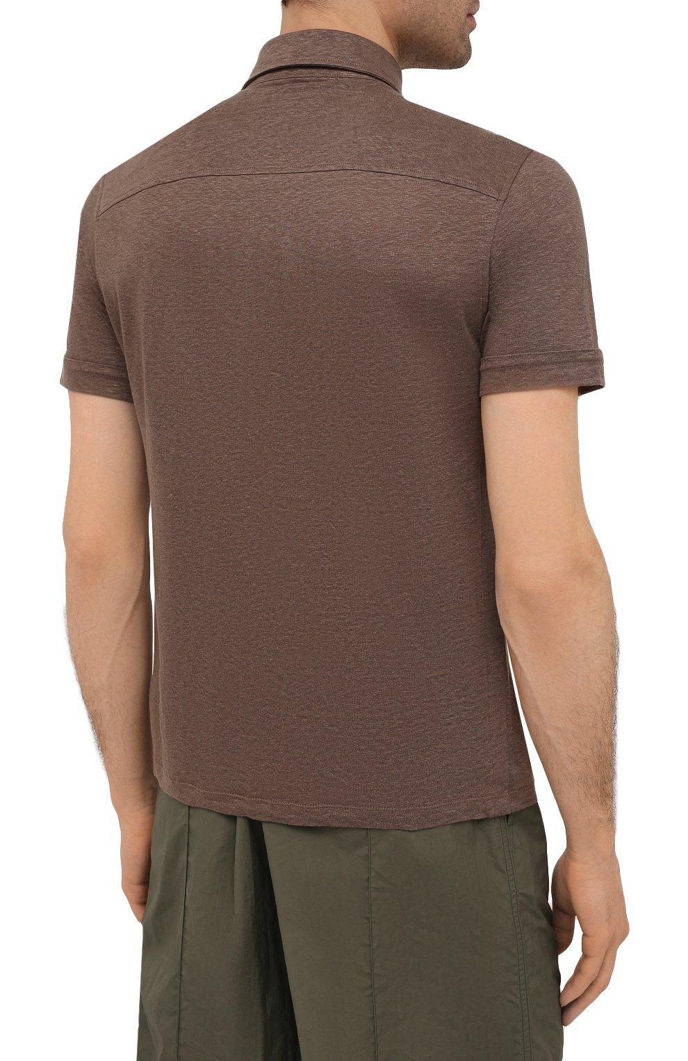 Мужское льняное поло ERMENEGILDO ZEGNA коричневого цвета, арт. UU564/723 | Фото 4