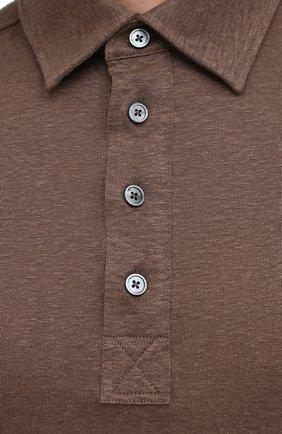 Мужское льняное поло ERMENEGILDO ZEGNA коричневого цвета, арт. UU564/723 | Фото 5