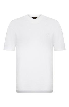 Мужская хлопковая футболка ZEGNA COUTURE белого цвета, арт. CWCJ14/9WJ14 | Фото 1 (Материал внешний: Хлопок; Стили: Кэжуэл; Рукава: Короткие; Принт: Без принта; Длина (для топов): Удлиненные)