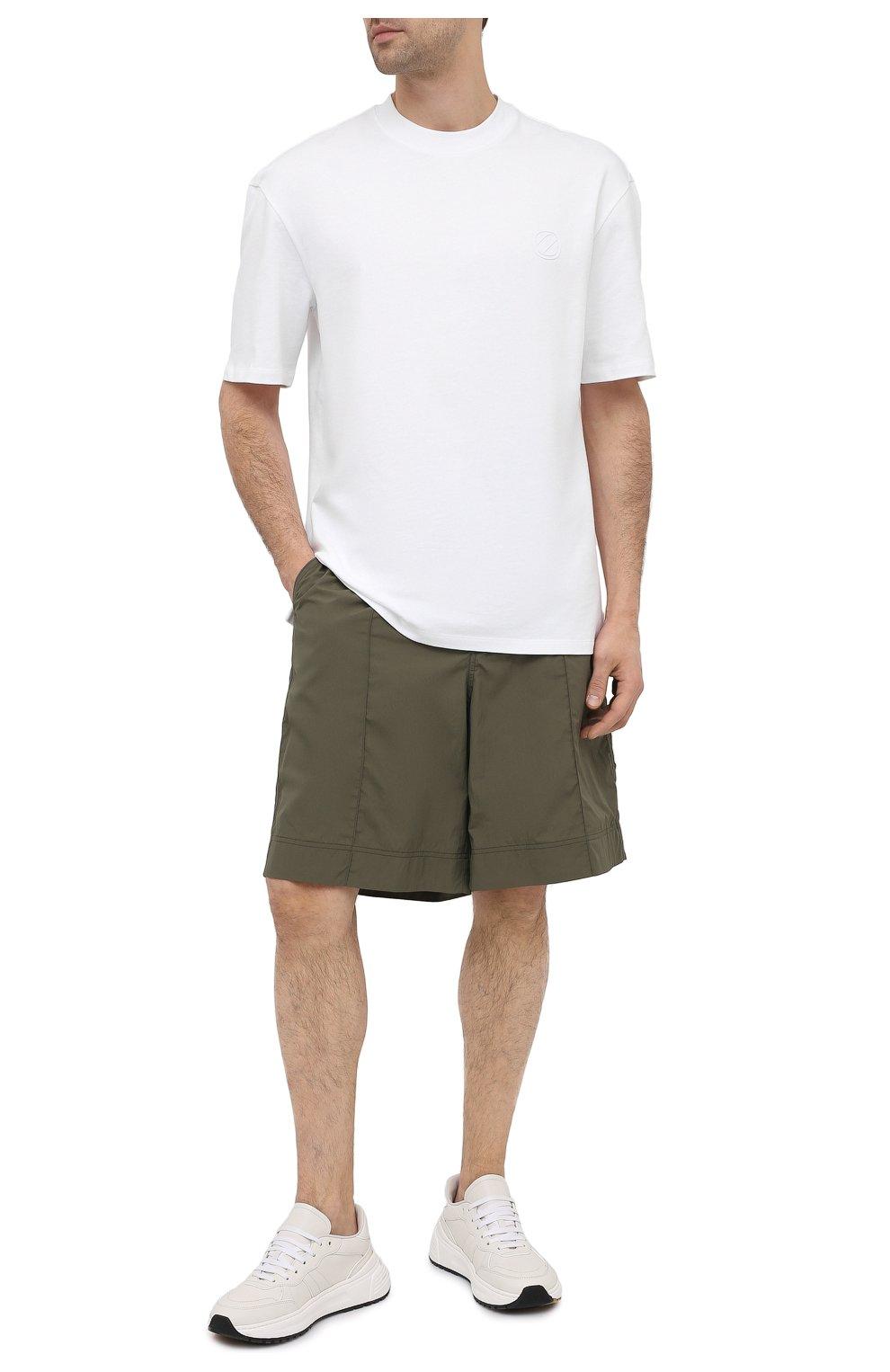 Мужская хлопковая футболка ZEGNA COUTURE белого цвета, арт. CWCJ14/9WJ14   Фото 2 (Принт: Без принта; Рукава: Короткие; Длина (для топов): Удлиненные; Материал внешний: Хлопок; Стили: Кэжуэл)