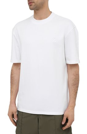 Мужская хлопковая футболка ZEGNA COUTURE белого цвета, арт. CWCJ14/9WJ14   Фото 3 (Принт: Без принта; Рукава: Короткие; Длина (для топов): Удлиненные; Материал внешний: Хлопок; Стили: Кэжуэл)