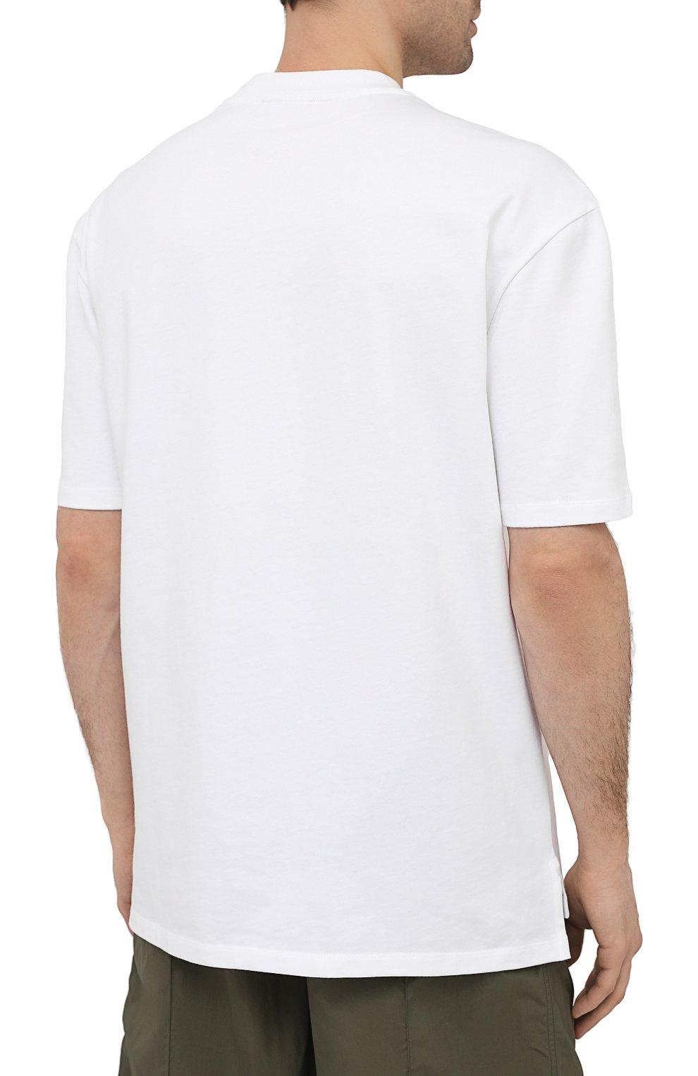 Мужская хлопковая футболка ZEGNA COUTURE белого цвета, арт. CWCJ14/9WJ14   Фото 4 (Принт: Без принта; Рукава: Короткие; Длина (для топов): Удлиненные; Материал внешний: Хлопок; Стили: Кэжуэл)
