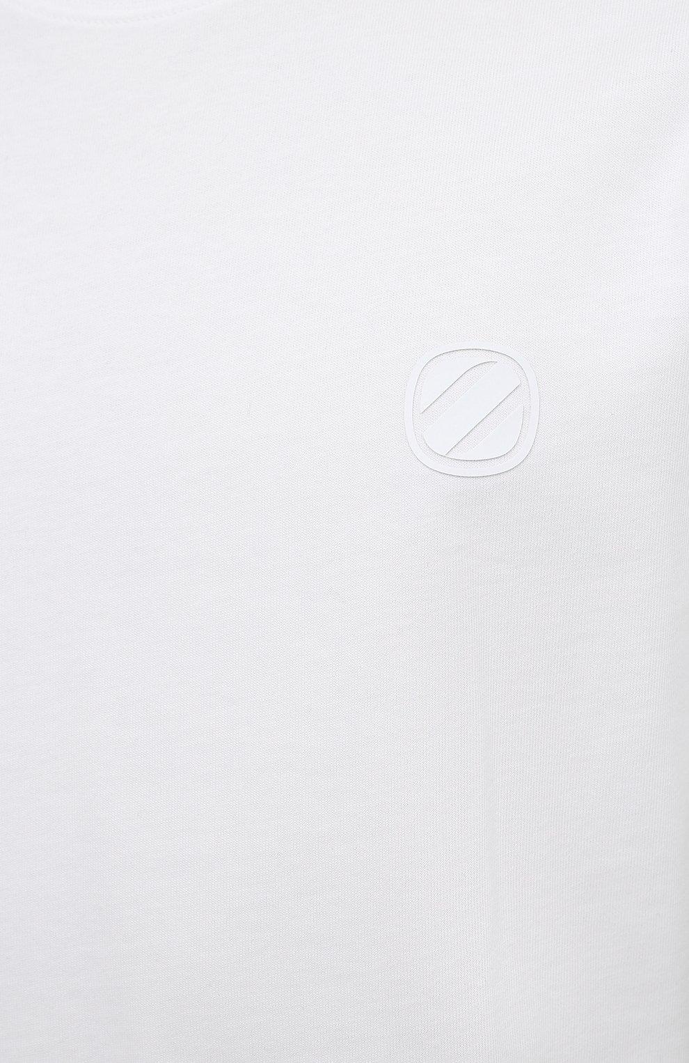 Мужская хлопковая футболка ZEGNA COUTURE белого цвета, арт. CWCJ14/9WJ14   Фото 5 (Принт: Без принта; Рукава: Короткие; Длина (для топов): Удлиненные; Материал внешний: Хлопок; Стили: Кэжуэл)