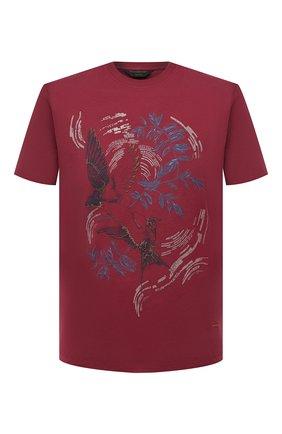 Мужская хлопковая футболка ZEGNA COUTURE красного цвета, арт. CWCJ13/9WJ13 | Фото 1