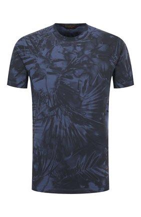 Мужская хлопковая футболка ZEGNA COUTURE синего цвета, арт. CWCJ13/9WJ12   Фото 1 (Стили: Кэжуэл; Принт: С принтом; Рукава: Короткие; Длина (для топов): Стандартные; Материал внешний: Хлопок)