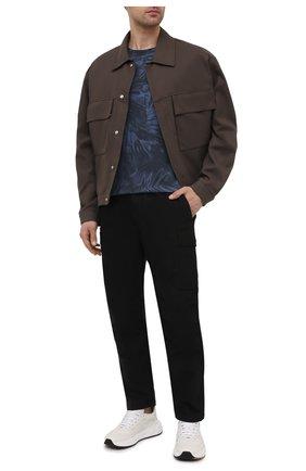 Мужская хлопковая футболка ZEGNA COUTURE синего цвета, арт. CWCJ13/9WJ12   Фото 2 (Стили: Кэжуэл; Принт: С принтом; Рукава: Короткие; Длина (для топов): Стандартные; Материал внешний: Хлопок)