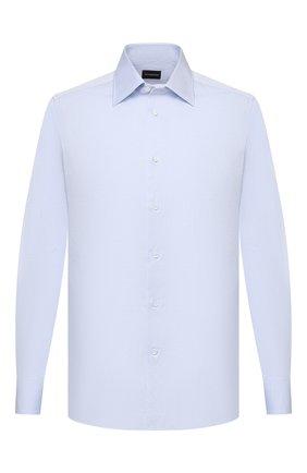 Мужская хлопковая сорочка ERMENEGILDO ZEGNA голубого цвета, арт. 904002/9MS0PA   Фото 1