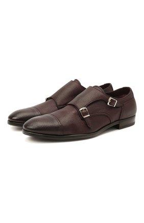 Мужские кожаные монки H`D`S`N BARACCO бордового цвета, арт. 64207.6* | Фото 1 (Стили: Классический; Материал внутренний: Натуральная кожа)