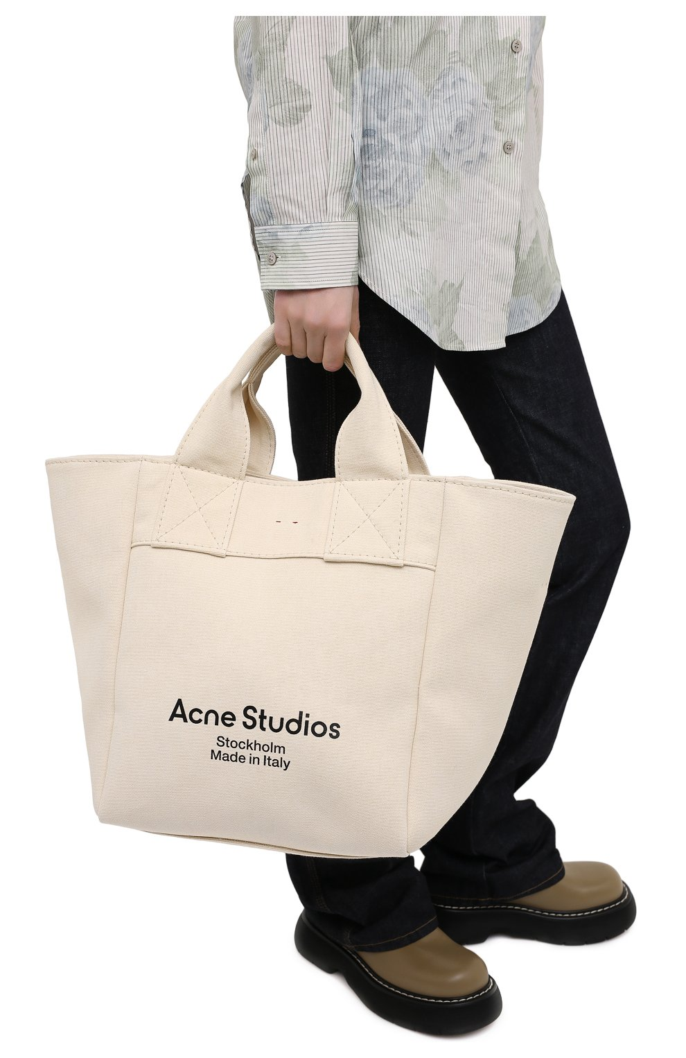 Женский сумка-шопер ACNE STUDIOS бежевого цвета, арт. C10057/W | Фото 2