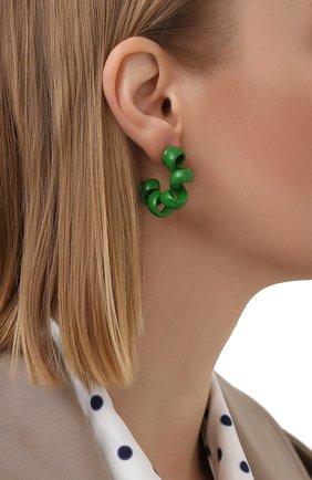 Женские серьги BOTTEGA VENETA зеленого цвета, арт. 649312/V5081/M   Фото 2