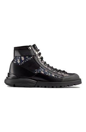 Мужские комбинированные ботинки DIOR черного цвета, арт. 3BO219YOFH169   Фото 1