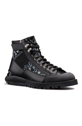 Мужские комбинированные ботинки DIOR черного цвета, арт. 3BO219YOFH169   Фото 2