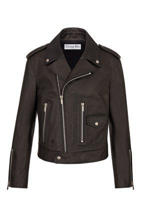 Женская кожаная куртка DIOR черного цвета, арт. 845V02AL200X9000 | Фото 1