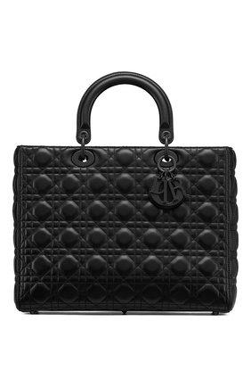 Женская сумка lady dior large DIOR черного цвета, арт. M0566SLOIM989 | Фото 1 (Ремень/цепочка: На ремешке; Размер: large; Сумки-технические: Сумки top-handle, Сумки через плечо; Материал: Натуральная кожа)