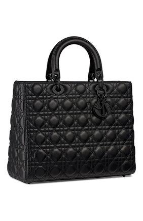 Женская сумка lady dior large DIOR черного цвета, арт. M0566SLOIM989 | Фото 2 (Ремень/цепочка: На ремешке; Размер: large; Сумки-технические: Сумки top-handle, Сумки через плечо; Материал: Натуральная кожа)