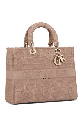 Женская сумка lady d-lite DIOR бежевого цвета, арт. M0566OWZAM912   Фото 2