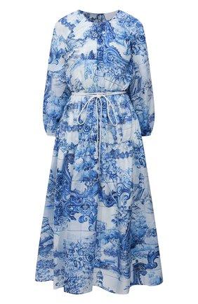 Женское шелковое платье BOSS голубого цвета, арт. 50447623 | Фото 1