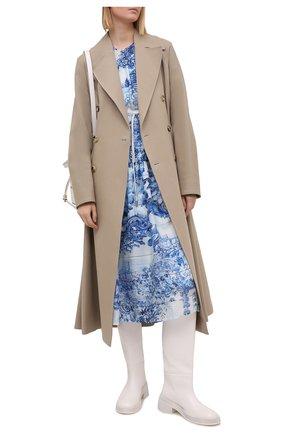 Женское шелковое платье BOSS голубого цвета, арт. 50447623 | Фото 2
