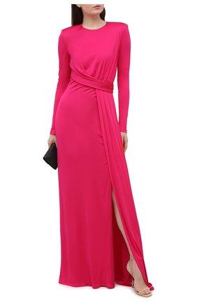 Женское платье из вискозы ALEXANDER MCQUEEN фуксия цвета, арт. 645893/QLAA0   Фото 2 (Женское Кросс-КТ: Платье-одежда; Материал подклада: Синтетический материал; Материал внешний: Вискоза; Стили: Гламурный; Случай: Вечерний; Длина Ж (юбки, платья, шорты): Макси, Миди; Рукава: Длинные)
