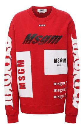 Женский хлопковый свитшот MSGM красного цвета, арт. 2940MM186 207599/CG | Фото 1