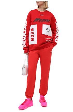 Женский хлопковый свитшот MSGM красного цвета, арт. 2940MM186 207599/CG | Фото 2