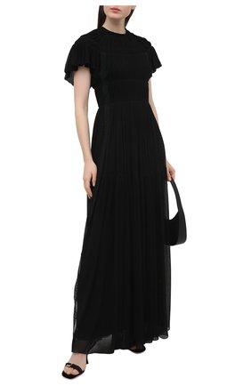 Женское шелковое платье CHLOÉ черного цвета, арт. CHC21SR001006 | Фото 2