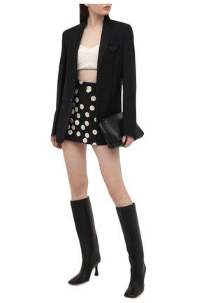Женская юбка-шорты VALENTINO черно-белого цвета, арт. VB3RA766660 | Фото 2
