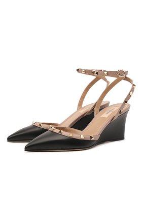 Женские кожаные туфли rockstud VALENTINO черного цвета, арт. VW2S0BC5/V0D   Фото 1