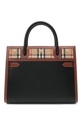 Женская сумка title small BURBERRY черного цвета, арт. 8025269 | Фото 1 (Материал: Натуральная кожа; Сумки-технические: Сумки top-handle, Сумки через плечо; Размер: small; Ремень/цепочка: На ремешке)