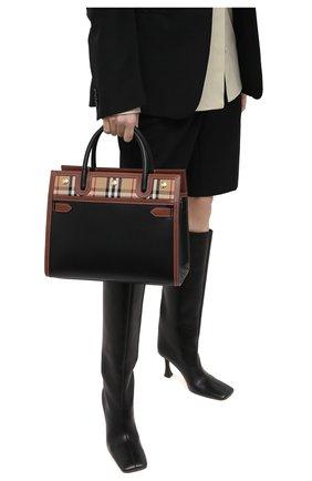 Женская сумка title small BURBERRY черного цвета, арт. 8025269 | Фото 2 (Материал: Натуральная кожа; Сумки-технические: Сумки top-handle, Сумки через плечо; Размер: small; Ремень/цепочка: На ремешке)