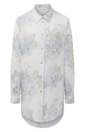 Женская рубашка из хлопка и вискозы ACNE STUDIOS голубого цвета, арт. AC0345 | Фото 1 (Принт: С принтом; Женское Кросс-КТ: Рубашка-одежда; Материал внешний: Хлопок, Вискоза; Длина (для топов): Удлиненные; Стили: Кэжуэл; Рукава: Длинные)