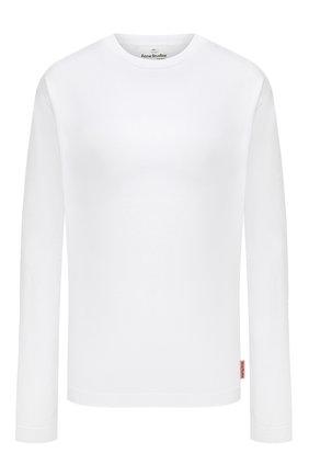 Женская хлопковый лонгслив ACNE STUDIOS белого цвета, арт. AL0208   Фото 1