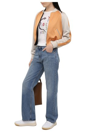 Женский бомбер SAINT LAURENT разноцветного цвета, арт. 641618/Y3C94   Фото 2 (Кросс-КТ: Куртка, бомбер; Рукава: Длинные; Длина (верхняя одежда): Короткие; Материал внешний: Вискоза, Синтетический материал; Стили: Спорт-шик; Материал подклада: Шелк)