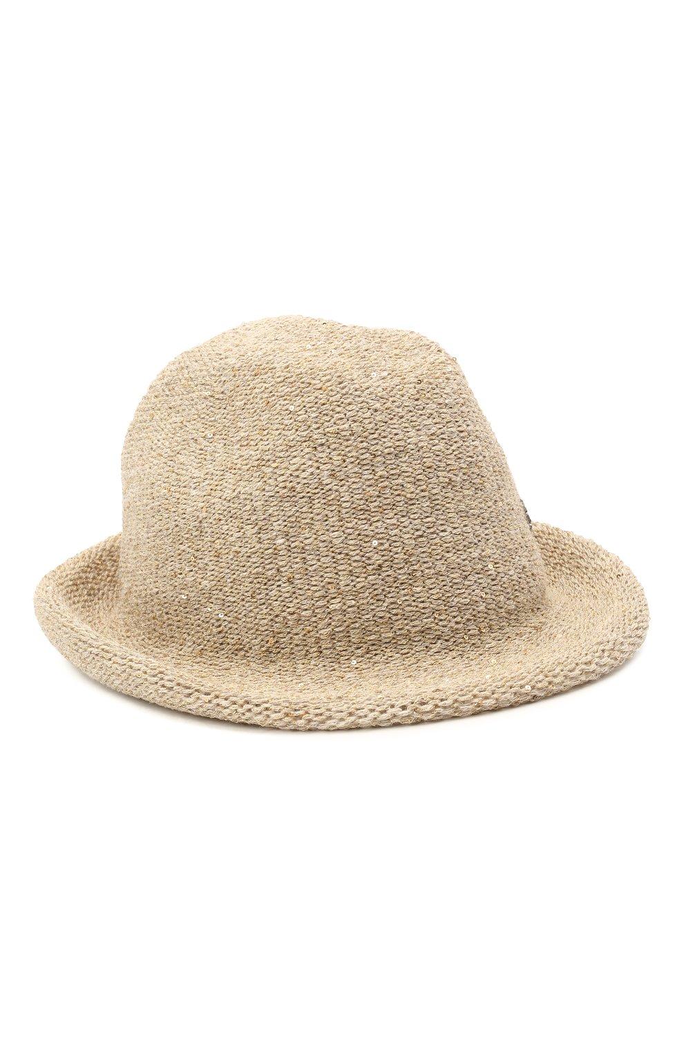 Женская шляпа LORENA ANTONIAZZI бежевого цвета, арт. P2189CE002/2815 | Фото 1 (Материал: Текстиль, Лен)