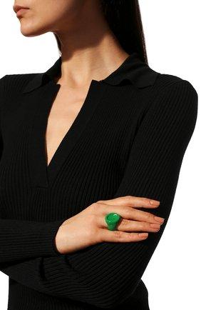 Женское кольцо BOTTEGA VENETA зеленого цвета, арт. 651193/VAHU4   Фото 2