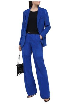 Женские замшевые брюки TOM FORD синего цвета, арт. PAL713-LEX257 | Фото 2