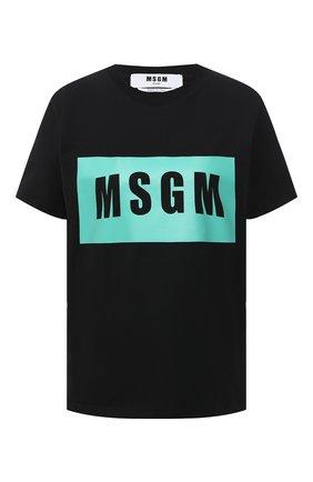 Женская хлопковая футболка MSGM черного цвета, арт. 3041MDM95 217298   Фото 1