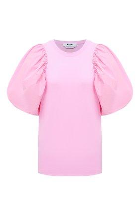 Женская хлопковая футболка MSGM светло-розового цвета, арт. 3041MDM75 217298 | Фото 1